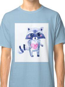 Cute raccoon animal. Watercolor Classic T-Shirt