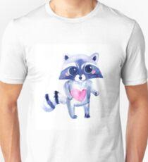 Cute raccoon animal. Watercolor T-Shirt