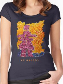 NORTHERN ART INUKSHUK NORTHERN SUNSET, FUNNY QUOTE HI ARCTIC Women's Fitted Scoop T-Shirt