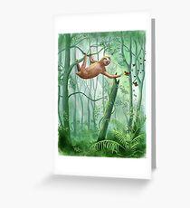 Süße Faultiere und Schmetterlinge Grußkarte