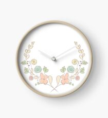 Spring flower laurel branches. Hand drawn design elements. Clock