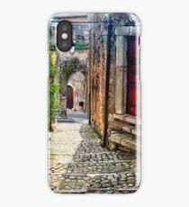 Narrow Cobblestone Street of Sermoneta, Italy iPhone Case/Skin