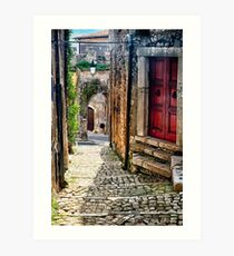 Narrow Cobblestone Street of Sermoneta, Italy Art Print