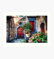 Classic House Entrance in Umbria, Italy Art Print