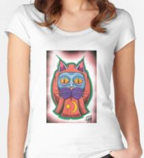 Lucky daruma cat Women's Fitted Scoop T-Shirt