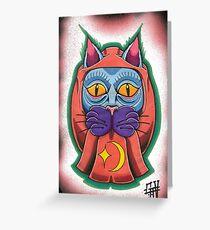 Lucky daruma cat Greeting Card