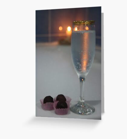 A Perfect Romance. Jacuzzi, Wine and Chocolates Greeting Card