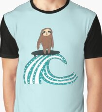 Surfing Sloth Graphic T-Shirt