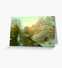 Winter River Scene, Norwich, England Greeting Card