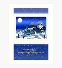Merry Christmas and Happy New Year in Polish, Winter Village Art Print
