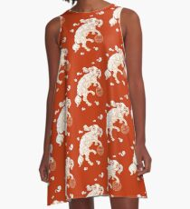 Long Life White Cloud Foo Dog A-Line Dress