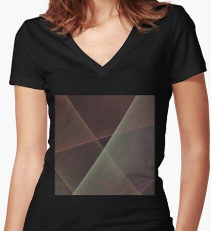 #Fractal Art Lines Women's Fitted V-Neck T-Shirt