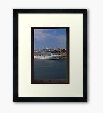 Cruise Ship, The Grand Harbour, Valletta Framed Print