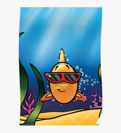 HeinyR- Goldfish with Sunglasses Poster