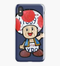 Toad from Super Mario Brothers Nintendo Recycled License Plate Art Portrait iPhone Case/Skin