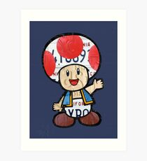 Toad from Super Mario Brothers Nintendo Recycled License Plate Art Portrait Art Print