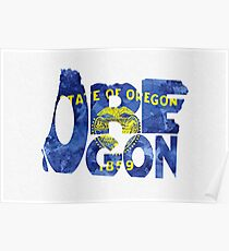 Oregon Typographic Map Flag Poster