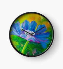 Vibrant Blue Flower Clock