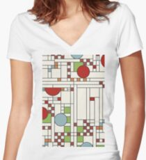 Frank lloyd wright S02 Women's Fitted V-Neck T-Shirt