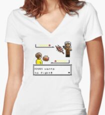 Khan Wants to Fight! Women's Fitted V-Neck T-Shirt