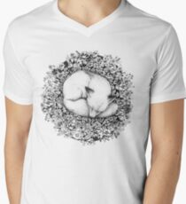 Fox Sleeping in Flowers Men's V-Neck T-Shirt