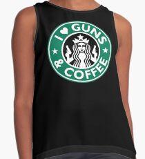 I Love GUNS AND COFFEE Shirt Funny Gun T-Shirt Contrast Tank