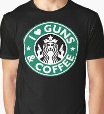 I Love GUNS AND COFFEE Shirt Funny Gun T-Shirt Graphic T-Shirt