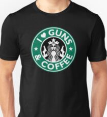 I Love GUNS AND COFFEE Shirt Funny Gun T-Shirt T-Shirt