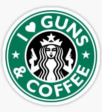 I Love GUNS AND COFFEE Shirt Funny Gun T-Shirt Sticker