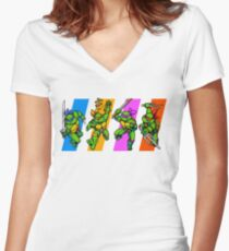 TMNT Turtles in Time Characters Women's Fitted V-Neck T-Shirt