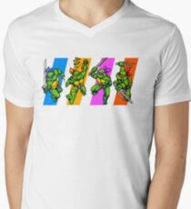 TMNT Turtles in Time Characters Men's V-Neck T-Shirt