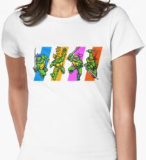 TMNT Turtles in Time Characters Women's Fitted T-Shirt