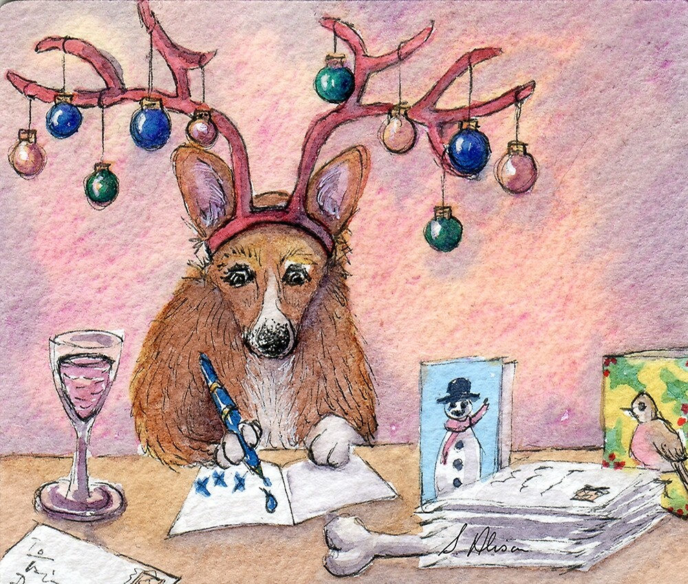 Corgi dog wearing reindeer antlers writing Christmas cards\
