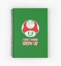 Distressed Mario Mushroom - I Don't Want to Grow Up (Sad Face) Spiral Notebook
