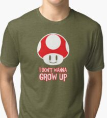 Mario Mushroom - I Don't Want to Grow Up (Happy Face) Tri-blend T-Shirt