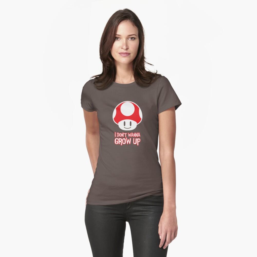 Mario Mushroom - I Don't Want to Grow Up (Happy Face) Womens T-Shirt Front