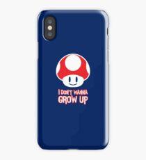 Mario Mushroom - I Don't Want to Grow Up (Happy Face) iPhone Case