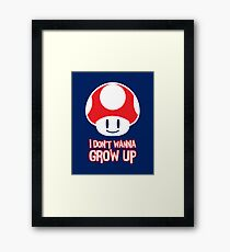 Mario Mushroom - I Don't Want to Grow Up (Happy Face) Framed Print
