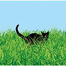 Cat in grass by popdesign