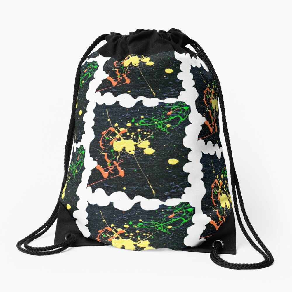 MINIMALIST ABSTRACT BLACK AND WHITE SWIRLING SPACE GALAXY  Drawstring Bag