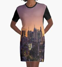 Melbourne CBD under the setting sun Graphic T-Shirt Dress