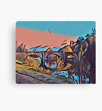 Dinham Bridge in Gouache Abstract Canvas Print