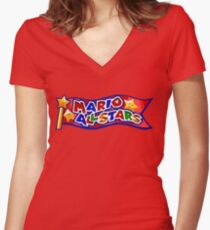 The Mario All Stars Women's Fitted V-Neck T-Shirt