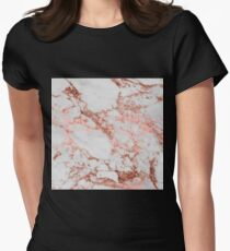 Stylish white marble rose gold glitter texture image Womens Fitted T-Shirt