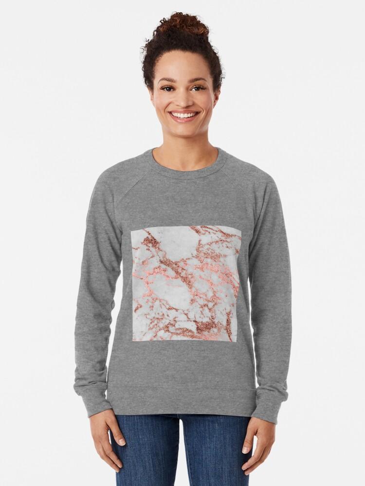 Alternate view of Stylish white marble rose gold glitter texture image Lightweight Sweatshirt
