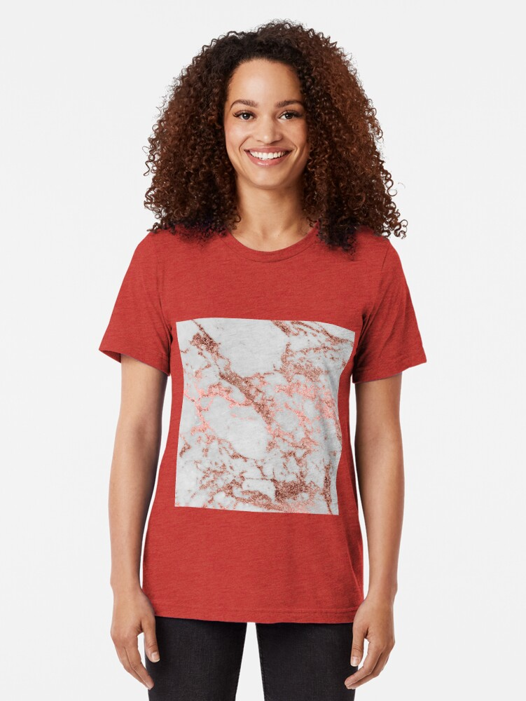 Alternative Ansicht von Stilvolles weißes Marmorrosegoldfunkeln-Beschaffenheitsbild Vintage T-Shirt