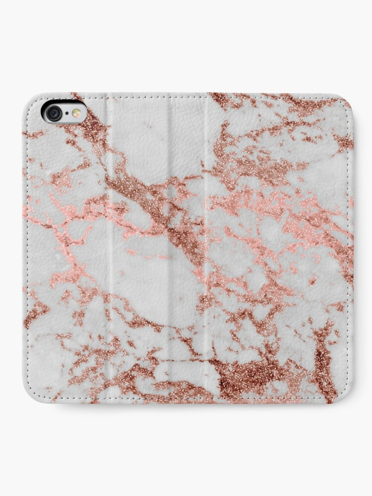Alternate view of Stylish white marble rose gold glitter texture image iPhone Wallet