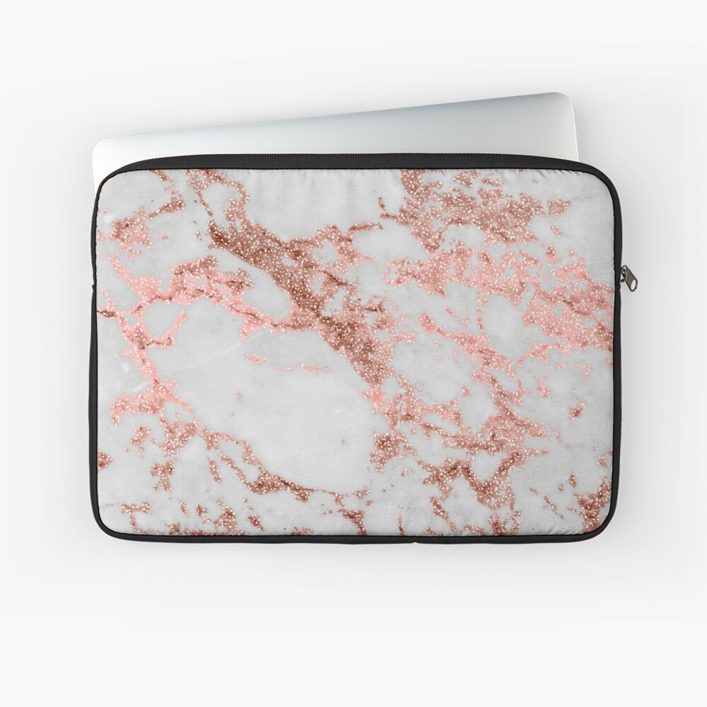 Stylish white marble rose gold glitter texture image Laptop Sleeve
