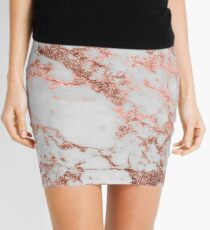 Stylish white marble rose gold glitter texture image Mini Skirt