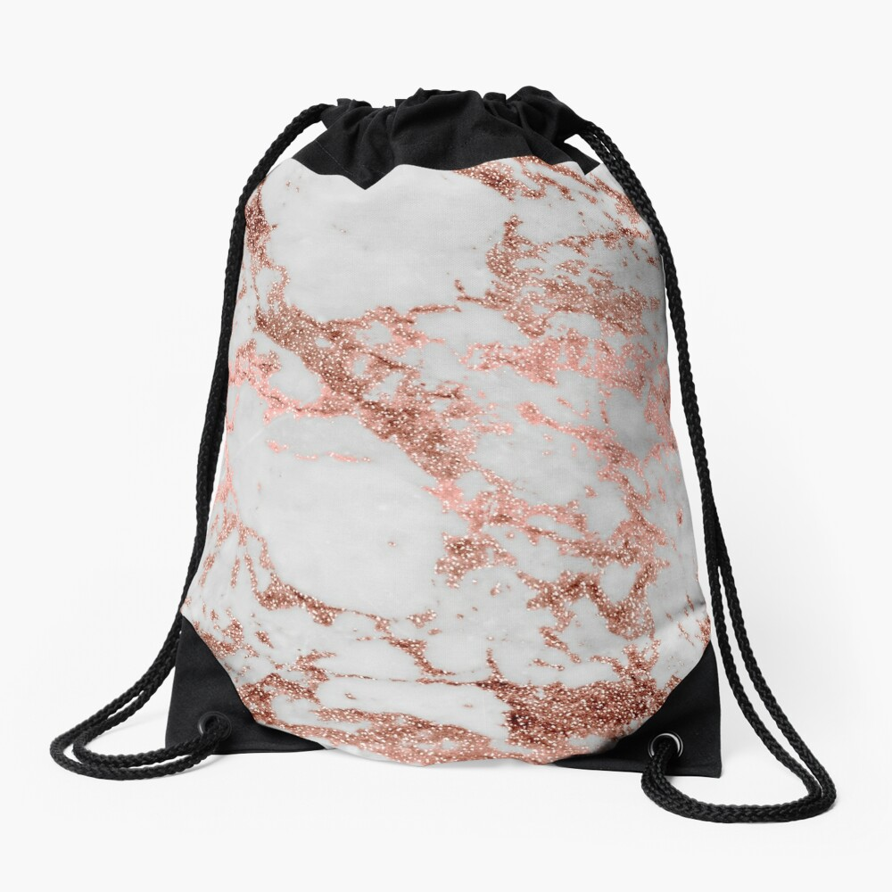 Stylish white marble rose gold glitter texture image Drawstring Bag